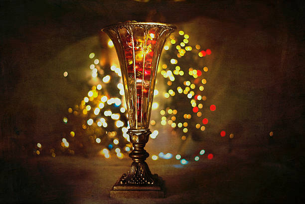 Antique Vase with Christmas Lights stock photo
