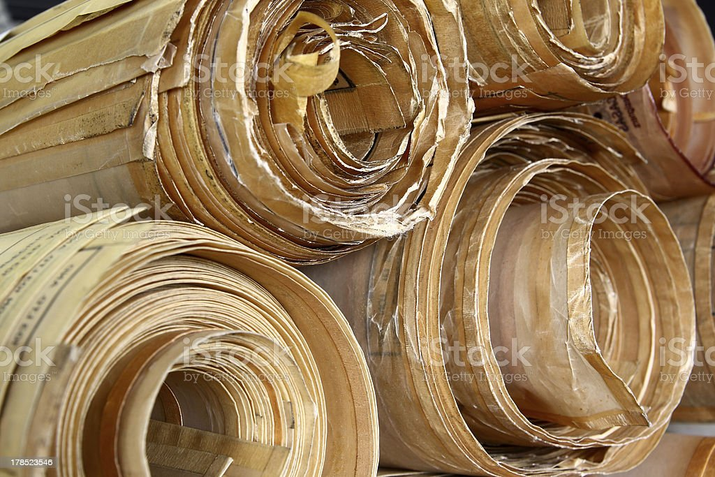 Antique Vellum Blueprint in Rolls stock photo