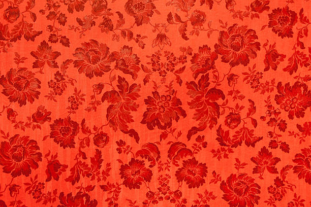 Antique velvet wall, Red flower texture stock photo