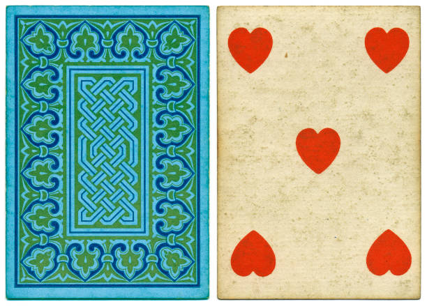 Antique Victorian 19th century playing card front and abstract back design Antique 19th century playing card with a blue geometrical back pattern that includes a Celtic knot design. This card is a five of hearts, featuring crude heart symbols. The card has no indices (no numbers) at top and bottom. whiteway stock pictures, royalty-free photos & images