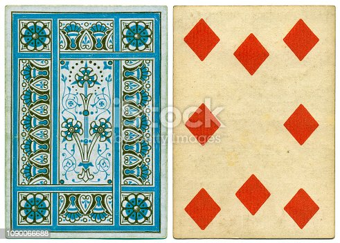 Antique 19th century playing card with a decorative blue geometrical floral back pattern. This card is an eight of diamonds, featuring crude diamond symbols. The card has no indices (no numbers) at top and bottom.
