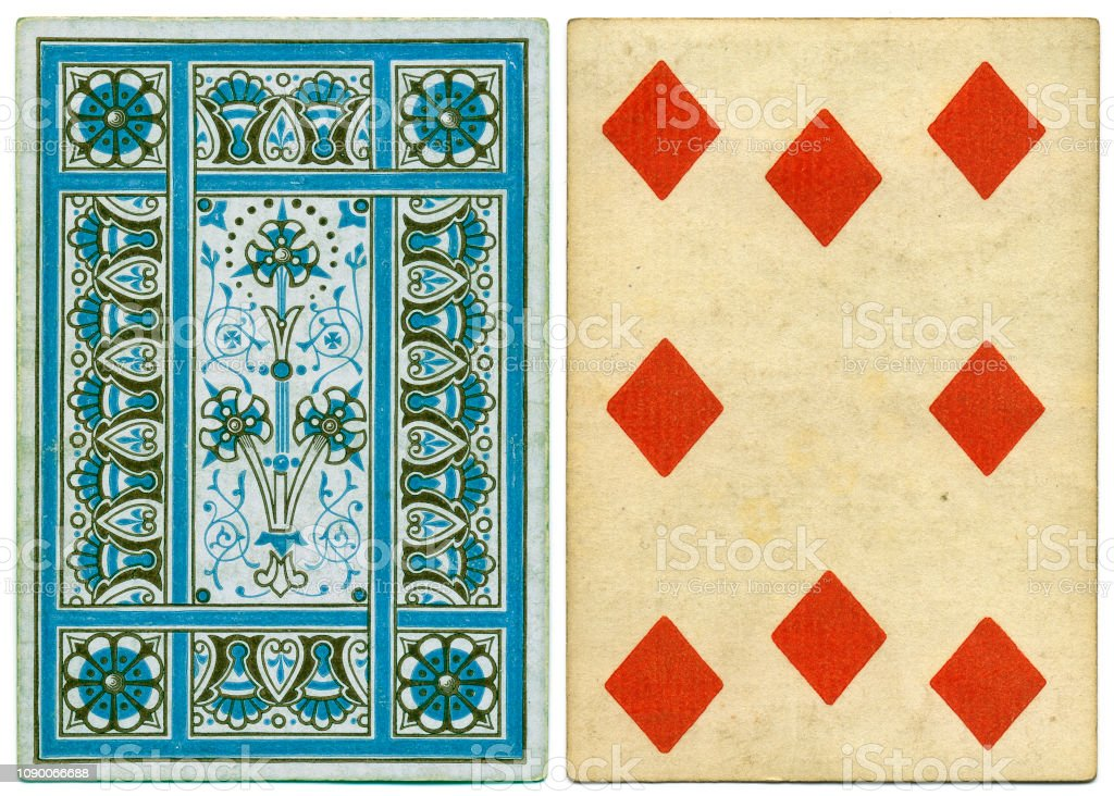 Antique Victorian 19th century playing card front and abstract back design stock photo