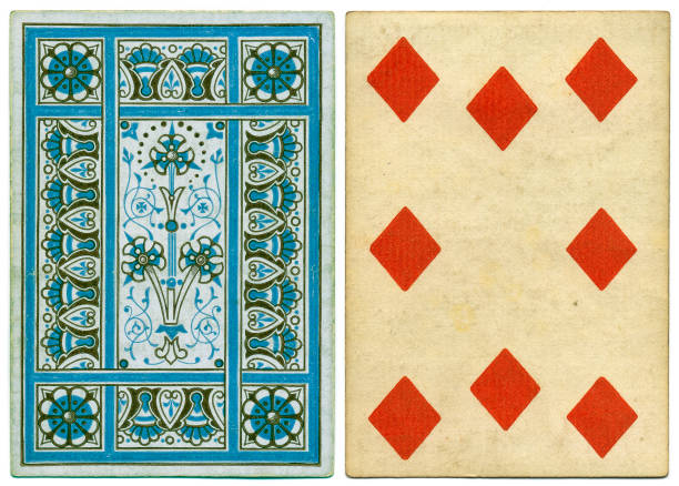 Antique Victorian 19th century playing card front and abstract back design Antique 19th century playing card with a decorative blue geometrical floral back pattern. This card is an eight of diamonds, featuring crude diamond symbols. The card has no indices (no numbers) at top and bottom. whiteway stock pictures, royalty-free photos & images