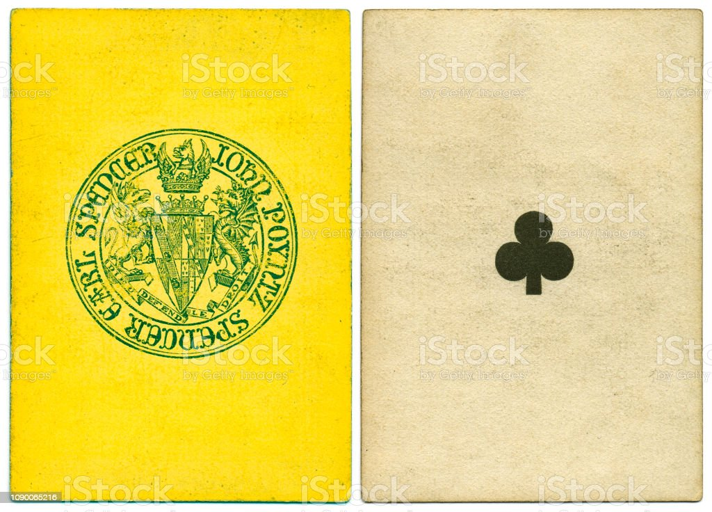 Antique Victorian 19th century playing card front and Earl Spencer back design stock photo