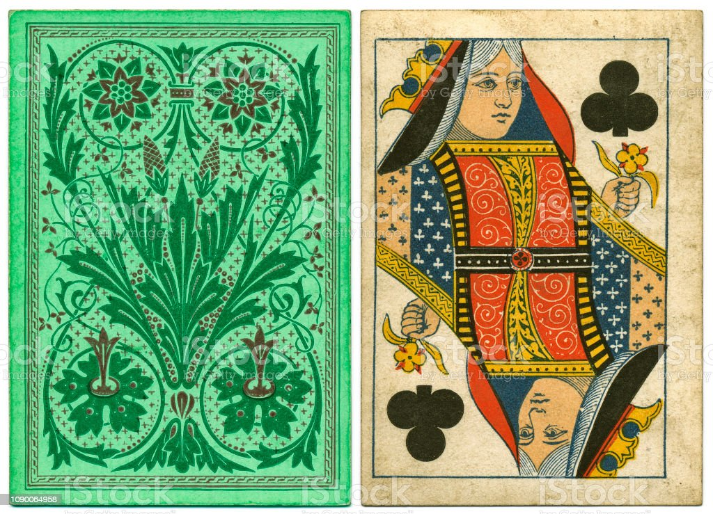 Antique Victorian 19th century playing card front and floral back design stock photo