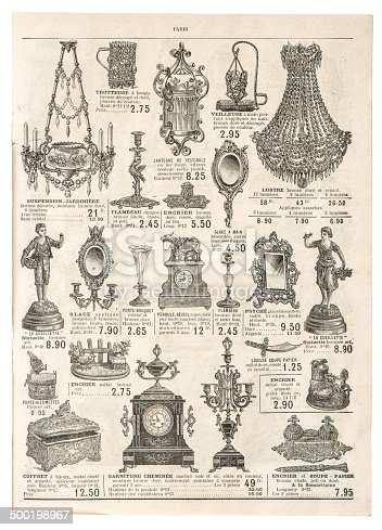 istock antique victorian objects. retro shop advertising from ca. 1897 500198967