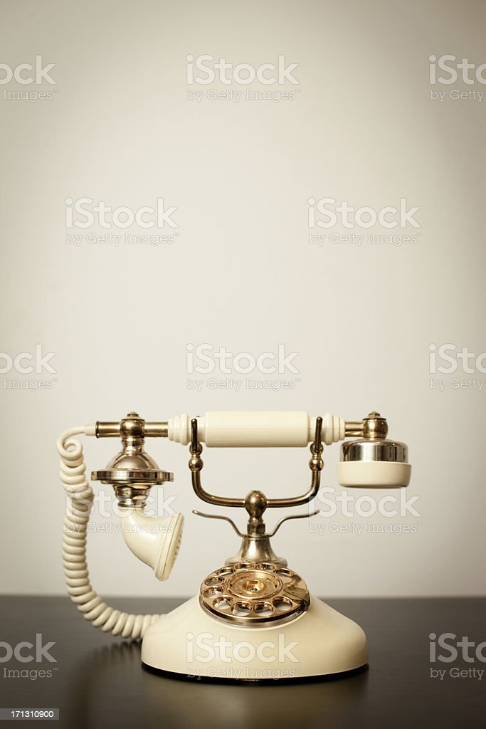 Antique Victorian-Style Rotary Telephone, With Copy Space stock photo