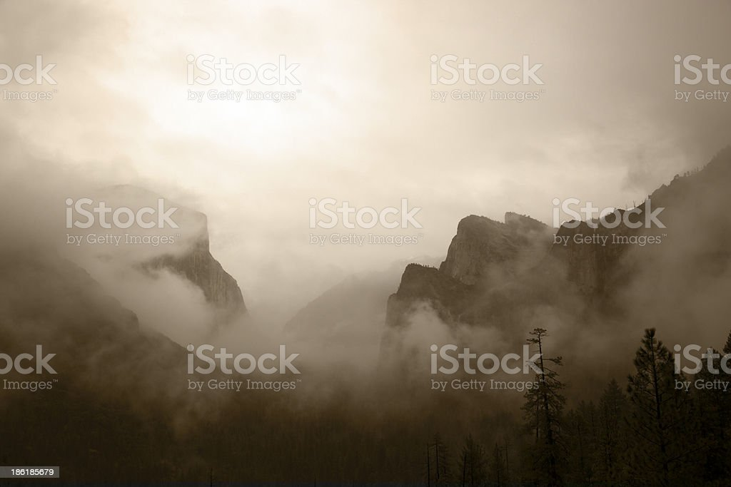 Antique View of Yosemite Valley stock photo