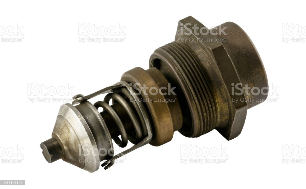 Antique vintage american automobile Antique vintage american automobile brass threaded style thermostat assembly on a white background stock photo