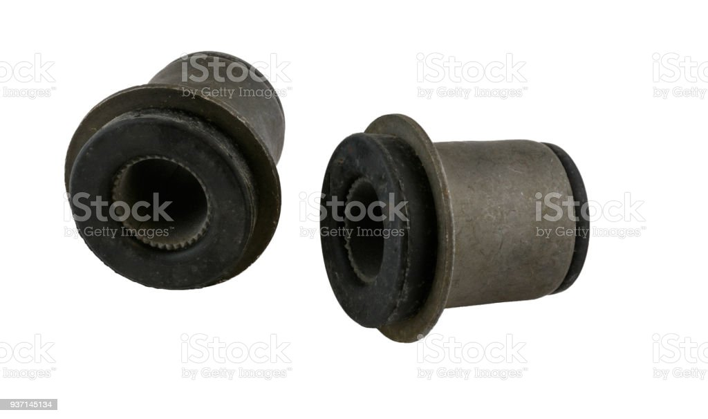Antique vintage american automobile control arm bushings on a white background stock photo