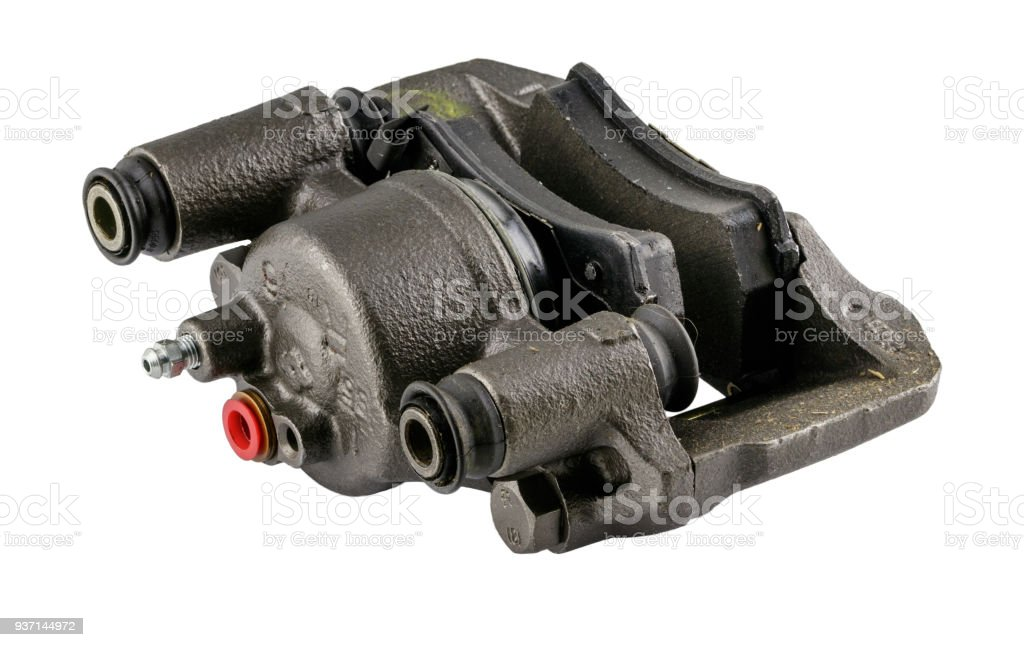 Antique vintage american automobile hydraulic brake caliper assembly on a white background stock photo
