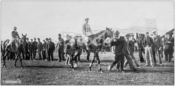 Antique vintage black and white photo: Horse racing event race