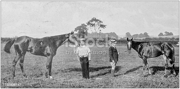 Antique vintage black and white photo: Racing horses