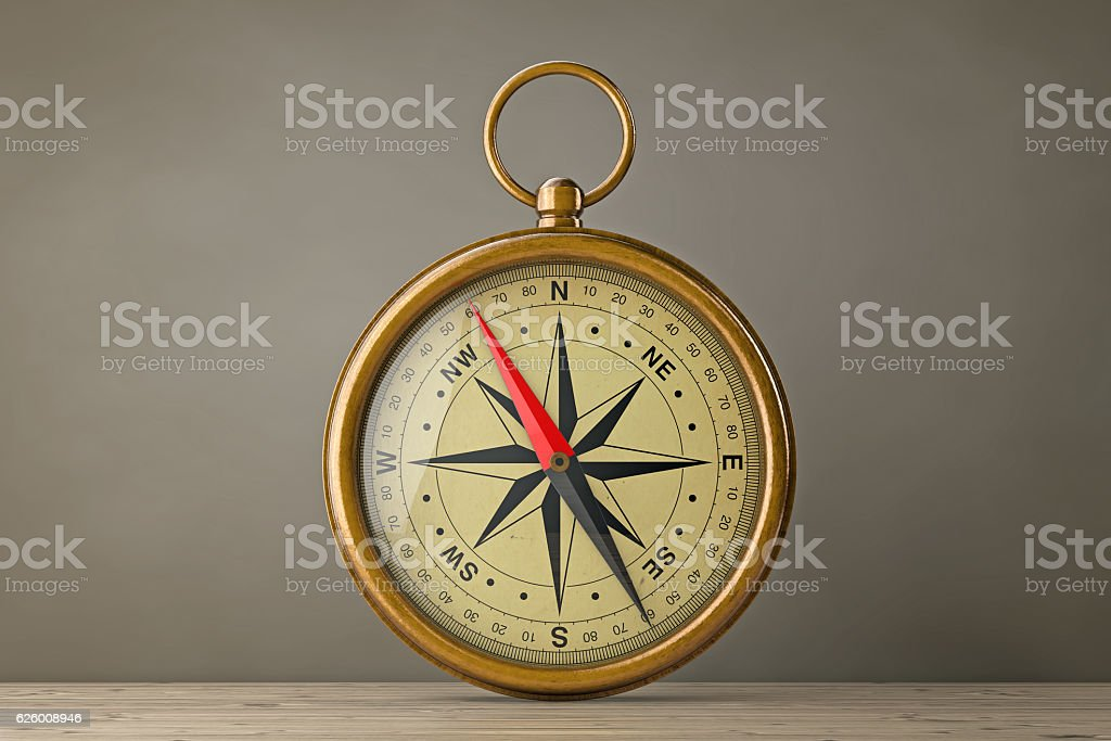 Antique Vintage Brass Compass. 3d Rendering stock photo