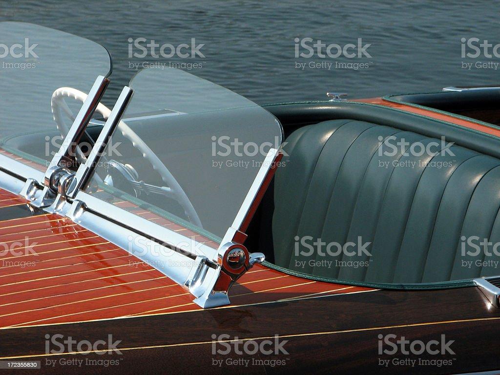 Antique Vintage Wood Boat Cockpit royalty-free stock photo