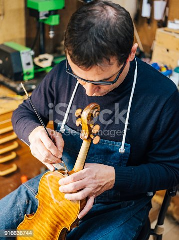 Antique Violin Luthier Stock Photo & More Pictures of Adjusting