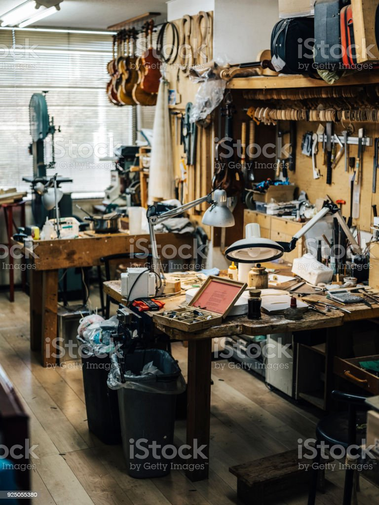 Antique Violin Repair Shop royalty-free stock photo
