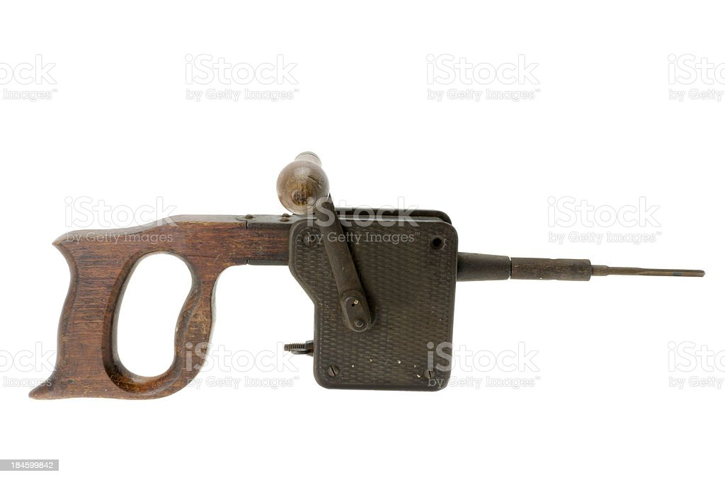 Antique wall boring mechanical hammer royalty-free stock photo