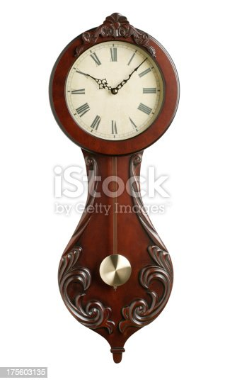 Antique wall clock on white background