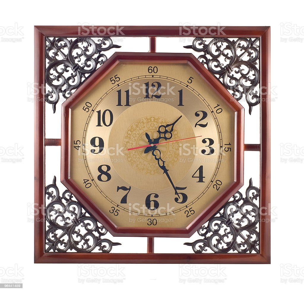 Antique wall clock with carved wooden frame - Royalty-free Carving - Craft Product Stock Photo
