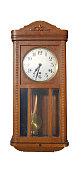 Antique wall pendulum clock isolated on white background