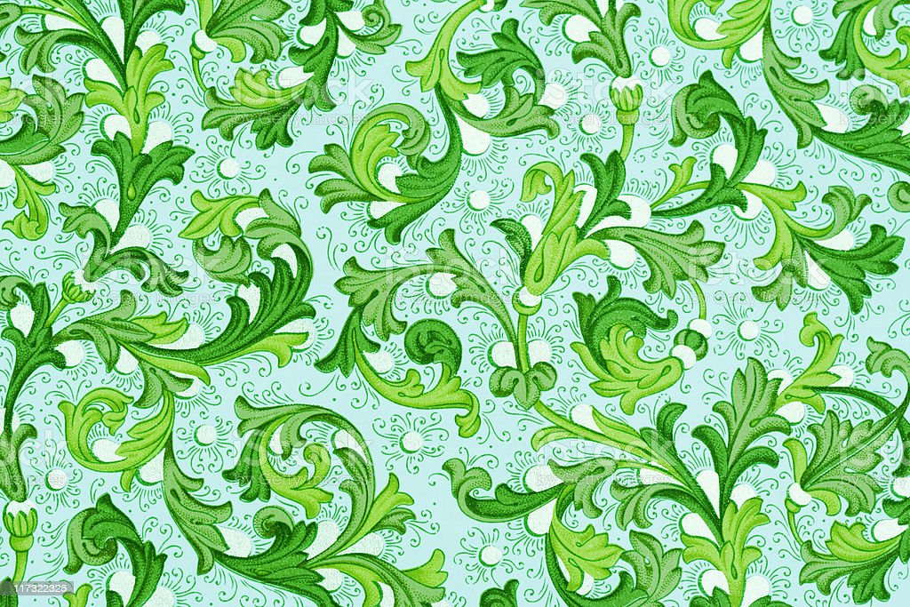 antique wallpaper with floral pattern royalty-free stock photo