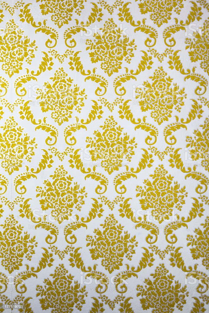 Antique Wallpaper with Gold Floral. Olf Fashion stock photo