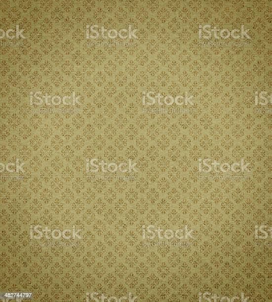 Antique Wallpaper With Gold Leaf Background Texture Stock Photo - Download Image Now