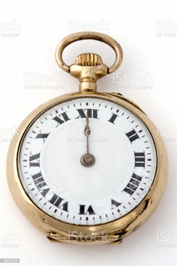 Antique watch 12:00 royalty-free stock photo