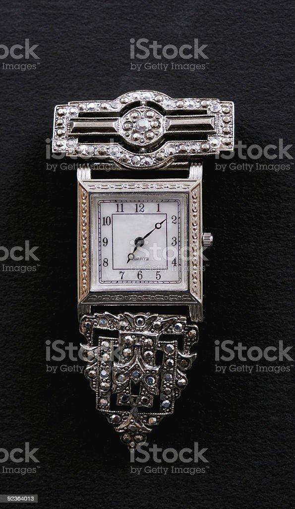 Antike Uhr Brosche Lizenzfreies stock-foto