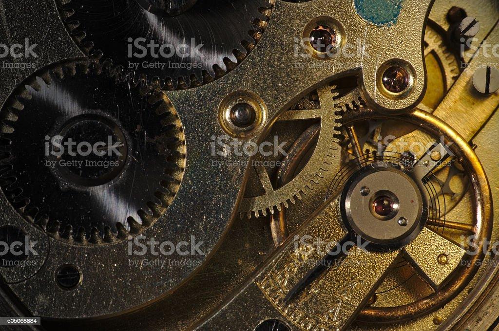 Antique watch mechanism stock photo