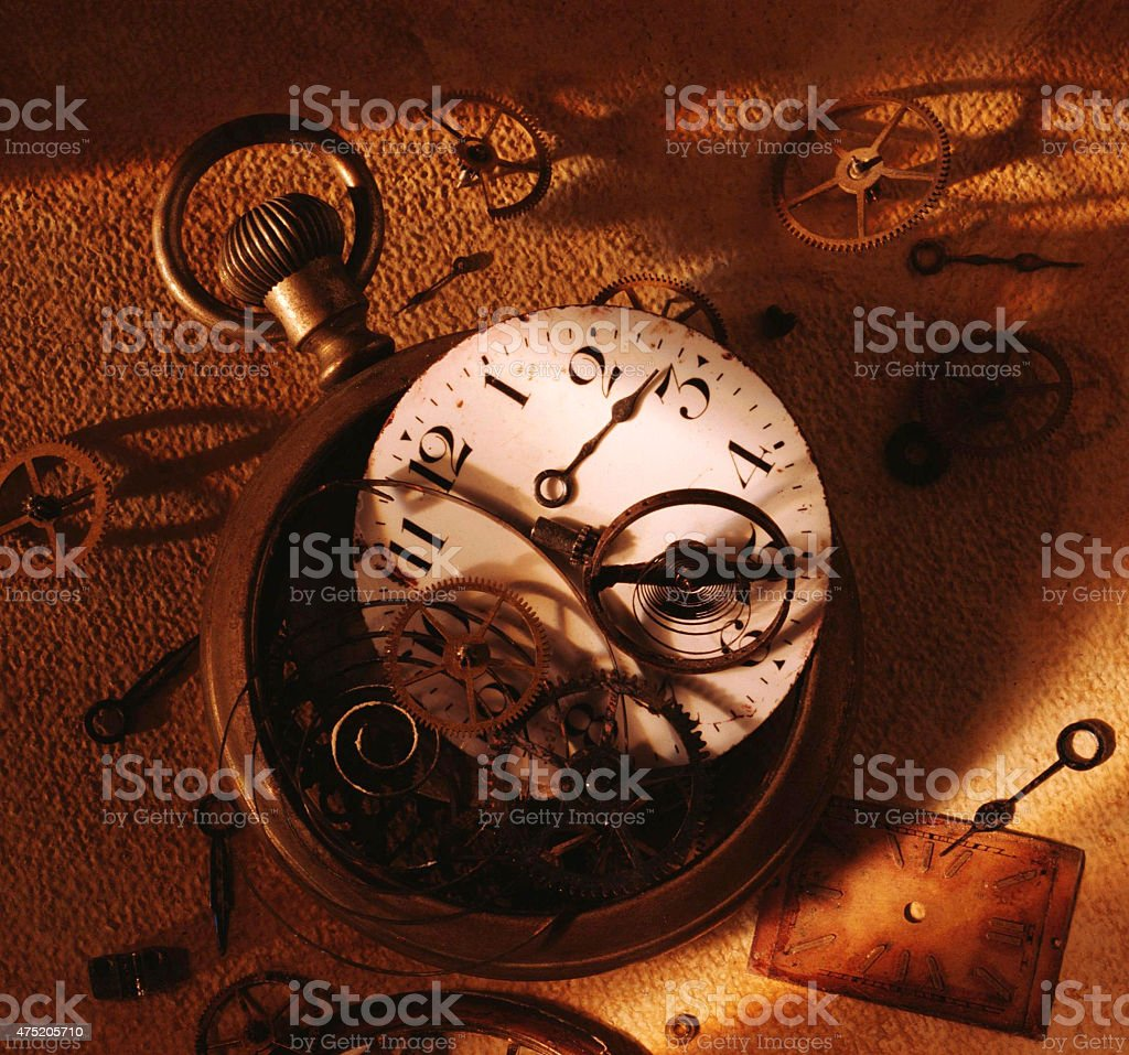 Antique Watch Parts stock photo