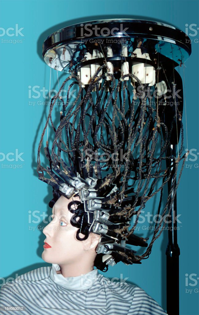 Antique way to get perm stock photo