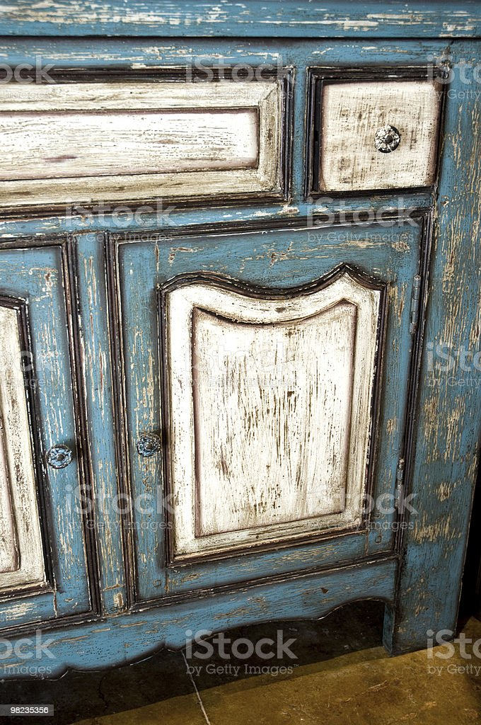 Antique Weathered Dresser Or Cabinet royalty-free stock photo
