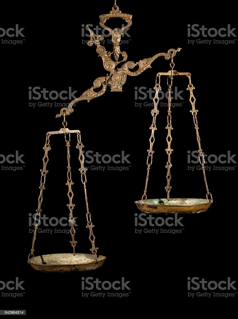 Antique weighing scale stock photo