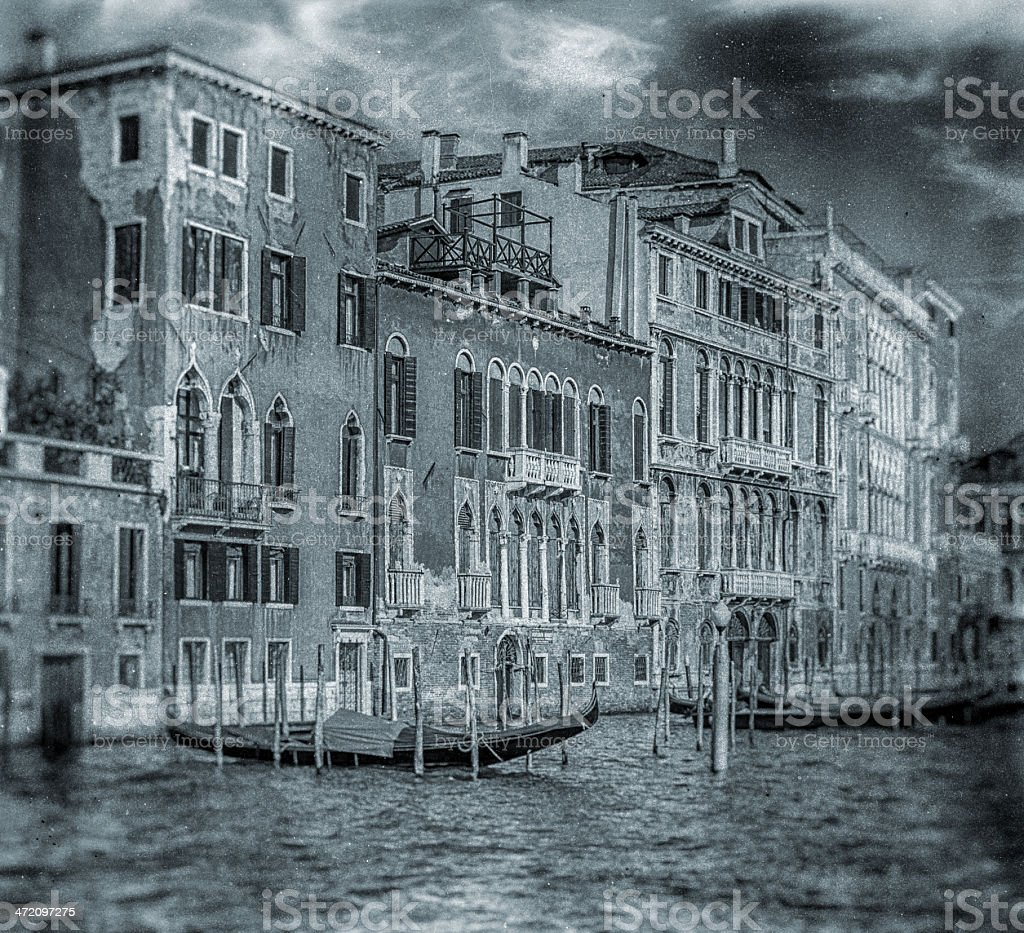 antique wet plate photo of Venice royalty-free stock photo