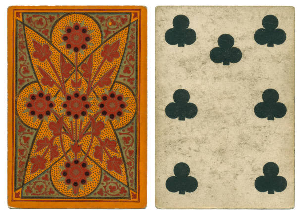Antique WILLIS Square Corner Non-Rev ART FLOWERS Seven of Clubs Out of copyright. 19th century / antique seven of clubs playing card by London manufacturer W. H. Willis & Co. dating from around 1880. The orange back design features an abstract floral pattern. Features that emphasise its age are the square corners; the lack of indices in the corners, and the court cards being non-reversible. 1880 stock pictures, royalty-free photos & images