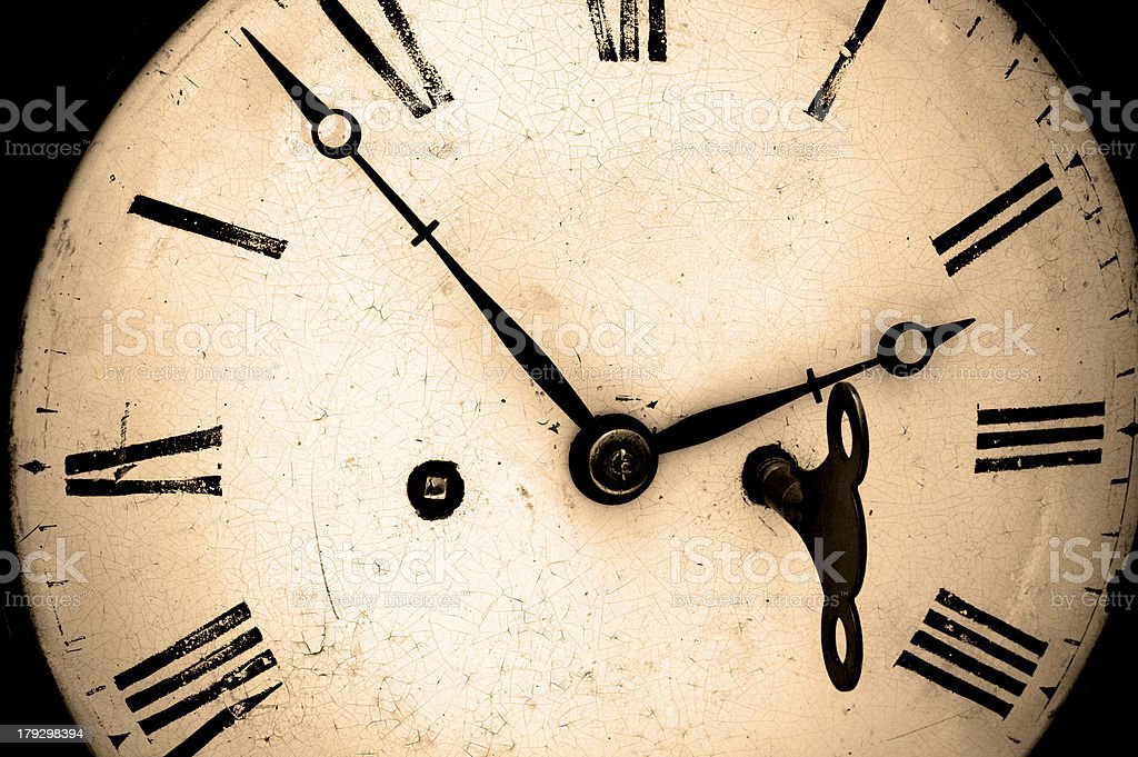 Antique wind up clock. royalty-free stock photo