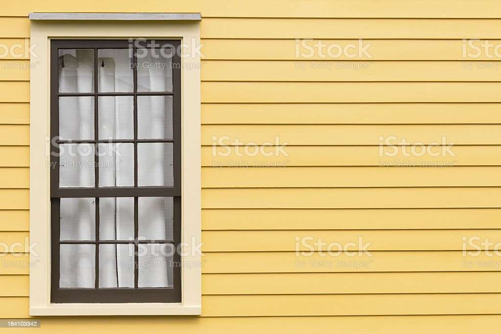 Antique Window and Yellow Wall royalty-free stock photo