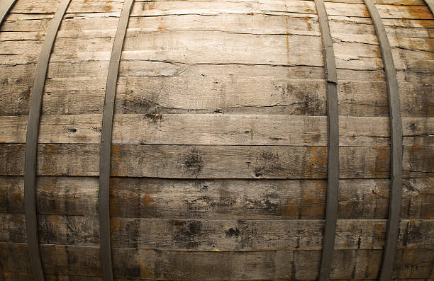 Antique Wine Cellar with Rusty Wooden Barrels - foto stock