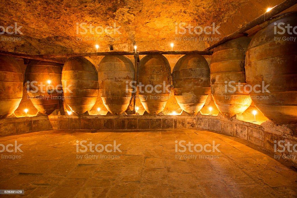 Vignobles anciens en Espagne avec des pots en argile Amphore - Photo