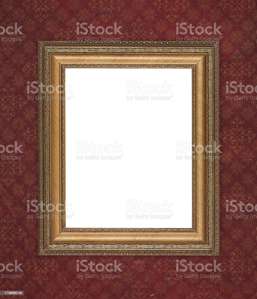 Antique wood frame on dark retro wallpaper royalty-free stock photo