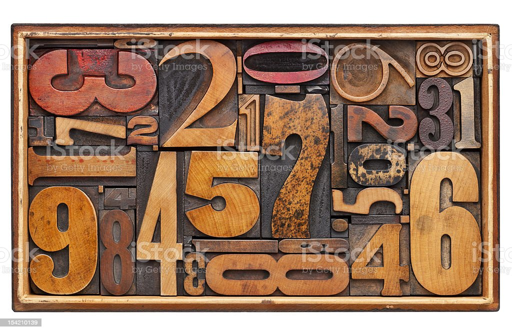 antique wood number abstract stock photo