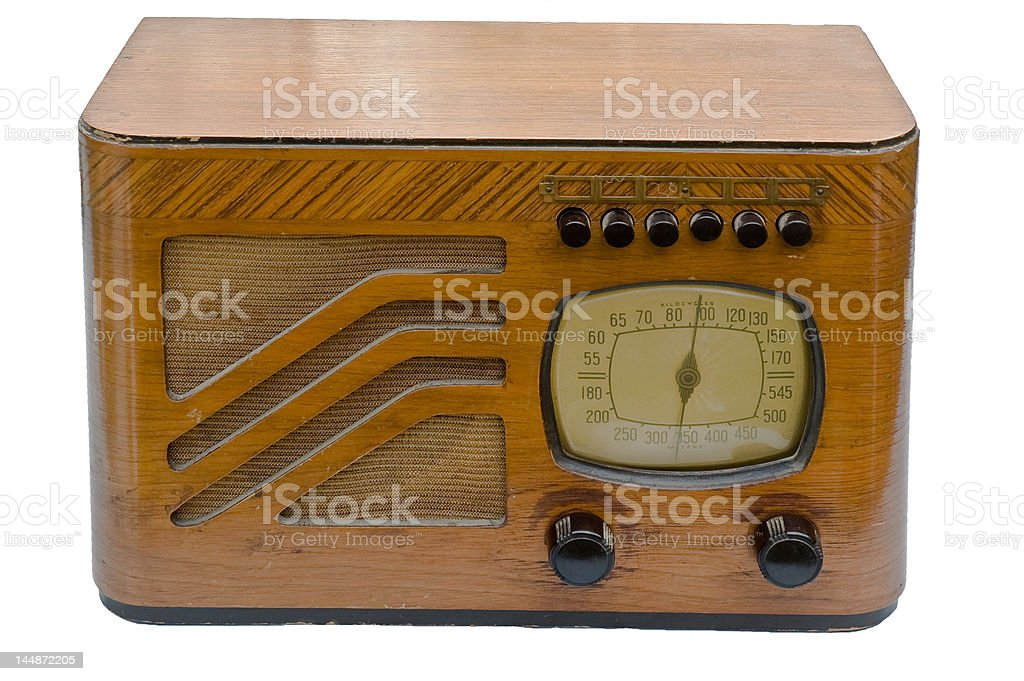 antique wood radio stock photo