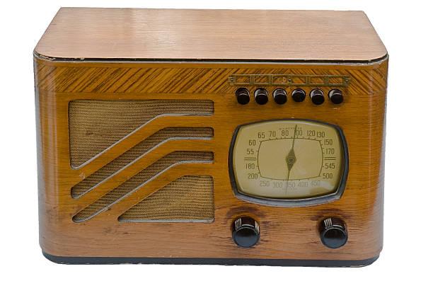 antique wood radio stock photo