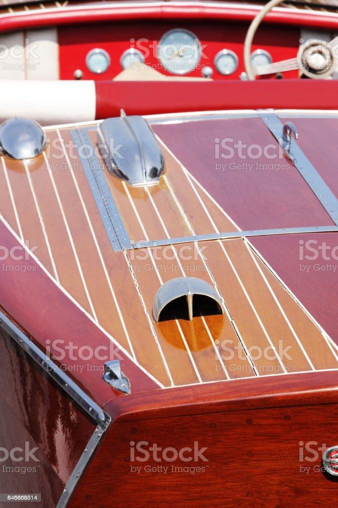 Antique Wood Speedboat Teak Mahogany Deck stock photo