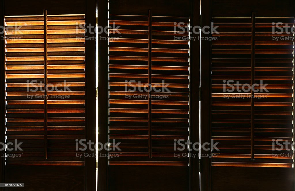 Antique Wood Window Blinds royalty-free stock photo