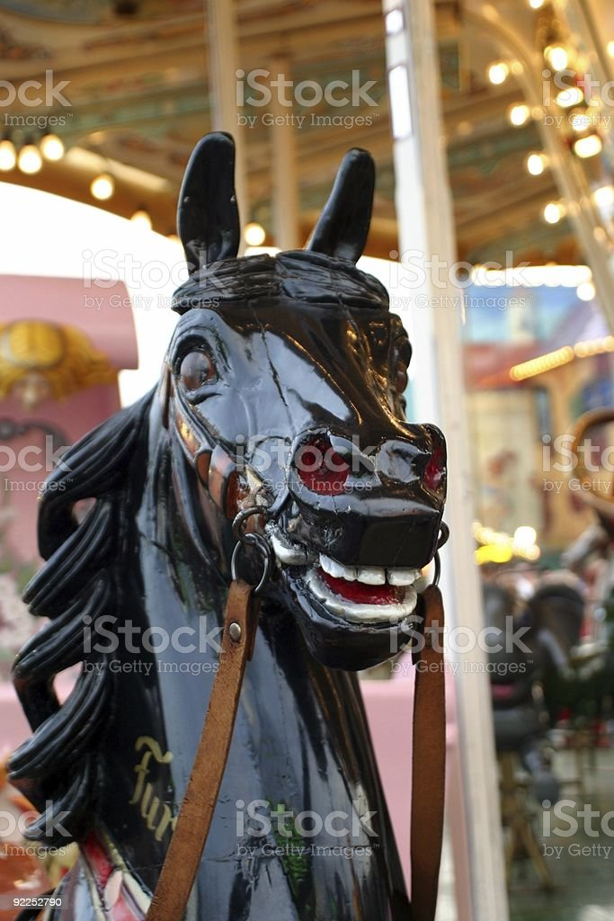 antique wooden carousel figure royalty-free stock photo