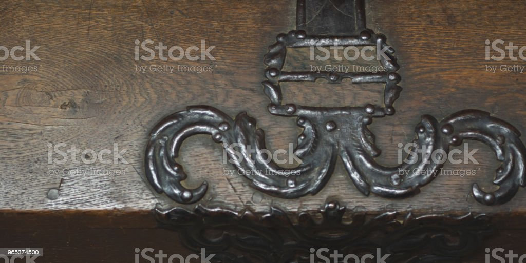 Antique wooden chest from the 1700s royalty-free stock photo