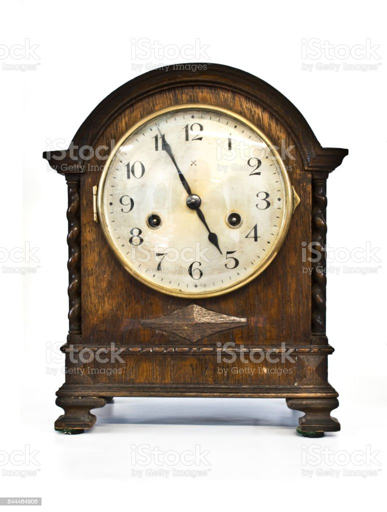 Antique Wooden Clock on White Background stock photo